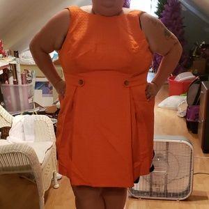 Orange Mod A Line 60's Style Dress